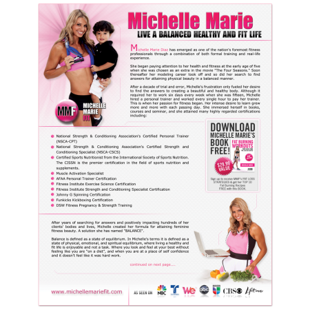 Michelle Marie 1 Page Detail Sheet